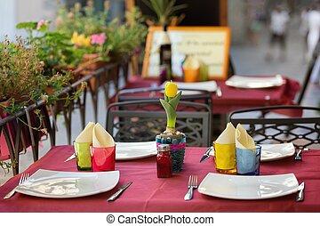 dîner, extérieur, toscane, recoin