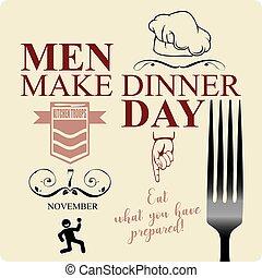 dîner, faire, jour, hommes