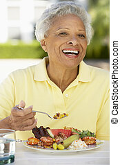 dîner, femme aînée, fresque, al