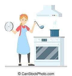 dîner, femme, cuisine, cuisine