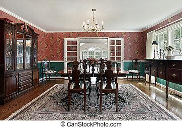 dîner, formel, salle, portes françaises