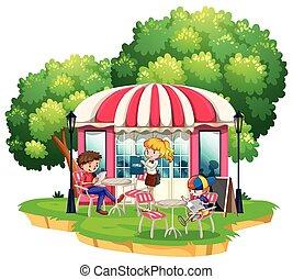 dîner, gens, dehors, restaurant
