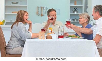 dîner, mûrir, amis, entre