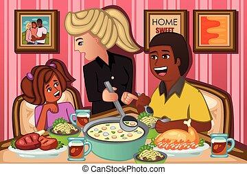 dîner, manger, famille, ensemble