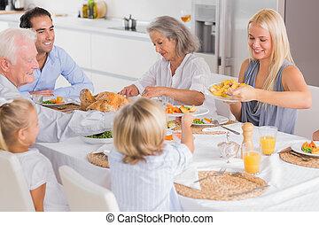 dîner, manger, thanksgiving, famille, heureux