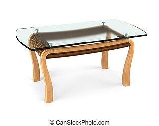 dîner, moderne, table verre