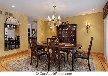 dîner, murs, salle, or