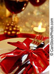 dîner noël, décoré, table