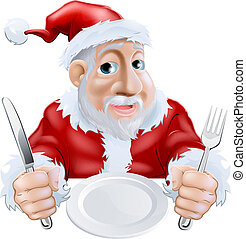 dîner noël, santa, prêt, dessin animé, heureux