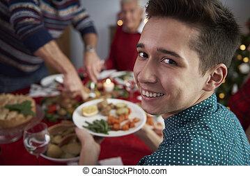 dîner, noël, temps famille