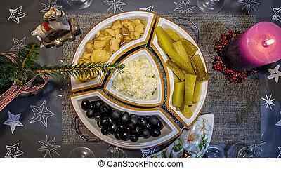 dîner, pas, noël, décorer, concept, famille, table., fini
