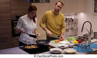 dîner, préparer, famille, cuisine