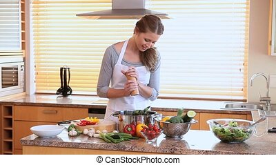 dîner, préparer, femme