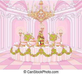 dîner, princesse, palais, salle