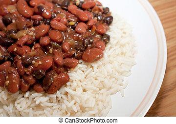 dîner, riz, haricots