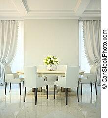 dîner, style, salle, classique