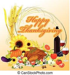dîner thanksgiving, illustration, fond