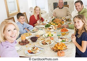 dîner, tout ensemble, noël famille