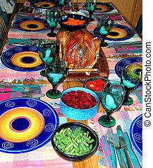 dîner turquie, table.