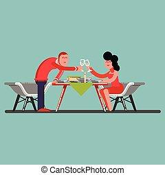 dîner, type, romantique, girl, avoir