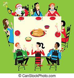 dîner, vacances, santa