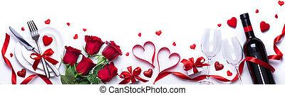 dîner, valentines, monture, blanc, cadeau, table, jour, roses, rouges