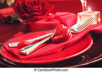 dîner, valentines, monture