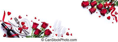 dîner, vin, valentines, monture, blanc, romantique, cadeau, table, jour, roses, rouges