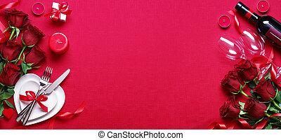 dîner, vin, valentines, monture, cadeau, table, jour, roses rouges, romantique