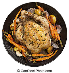 dîner, vue, poulet, rôti, sommet