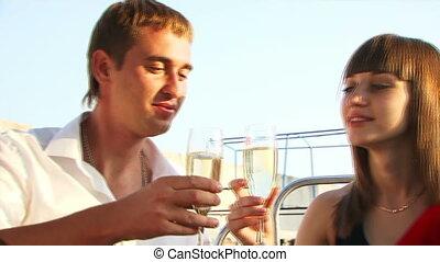 dîner, yacht, romantique