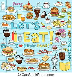 dîneur, nourriture, cahier, doodles, ensemble
