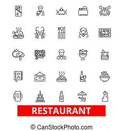 dîneur, strokes., pub, conception, signes, restaurant, concept., isolé, dîner, café, blanc, plat, linéaire, symbole, editable, nourriture, culinaire, icons., fond, ligne, barre, illustration, manger, menu, cuisine, vecteur