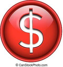 dólar, ícone, button.