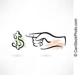 dólar, ícone, grunge, mão