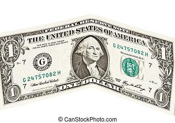 dólar, billete de banco, uno