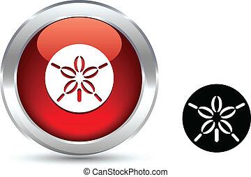 dólar, button., areia
