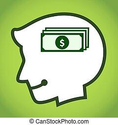 dólar, cabeça, silueta, símbolo, human