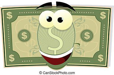 dólar, carácter, caricatura, nosotros