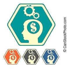 dólar, conjunto cabeça, silueta, human