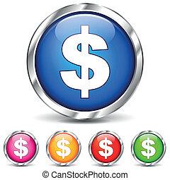 dólar, cromo, ícones