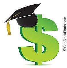 dólar, e, educação, sinal