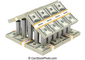 dólar, edificio, aislado, blanco
