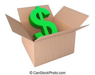 dólar, em, aberta, caixa