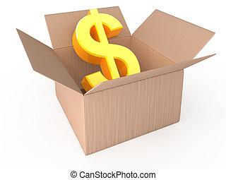 dólar, em, aberta, caixa, isolado, branco