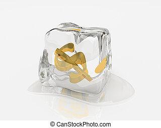 dólar, em, cubo gelo, 3d, fazendo