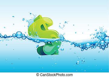 dólar, en, agua