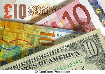 dólar, franco, euro, libra, moeda corrente, de, eua, europa,...