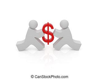 dólar, gente, señal