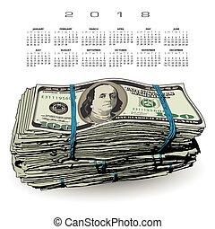 dólar, gorda, pilha, 2018, calendário, contas, 100